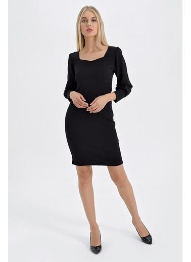 Jument Scuba Krep Beşgen Yaka Kolları Büzgülü Elbise Siyah